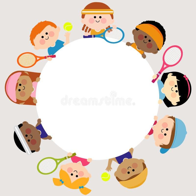 Круглые пустые теннисисты знамени и детей иллюстрация штока