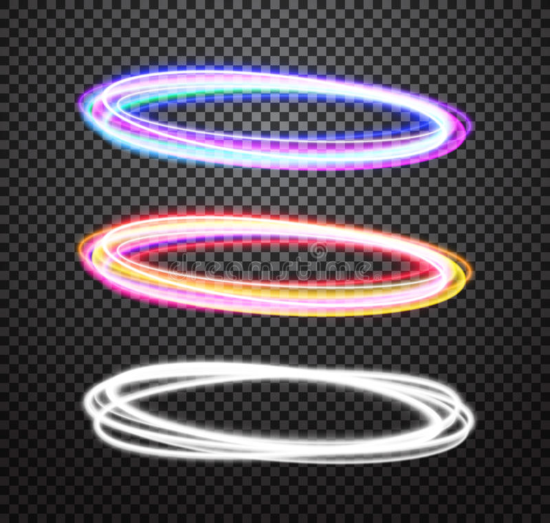 Круглые установленные специальные эффекты вектора следа неонового света иллюстрация вектора