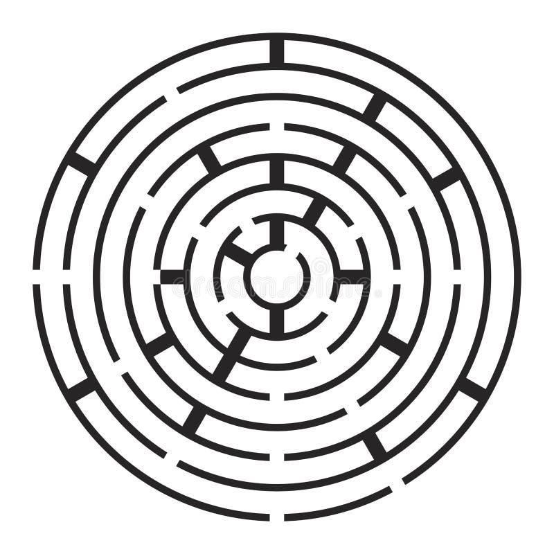 Круглый лабиринт, дизайн значка символа вектора labirynth иллюстрация штока