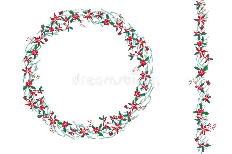 Круглый венок рождества при poinsettia изолированный на белизне Бесконечная вертикальная щетка картины бесплатная иллюстрация
