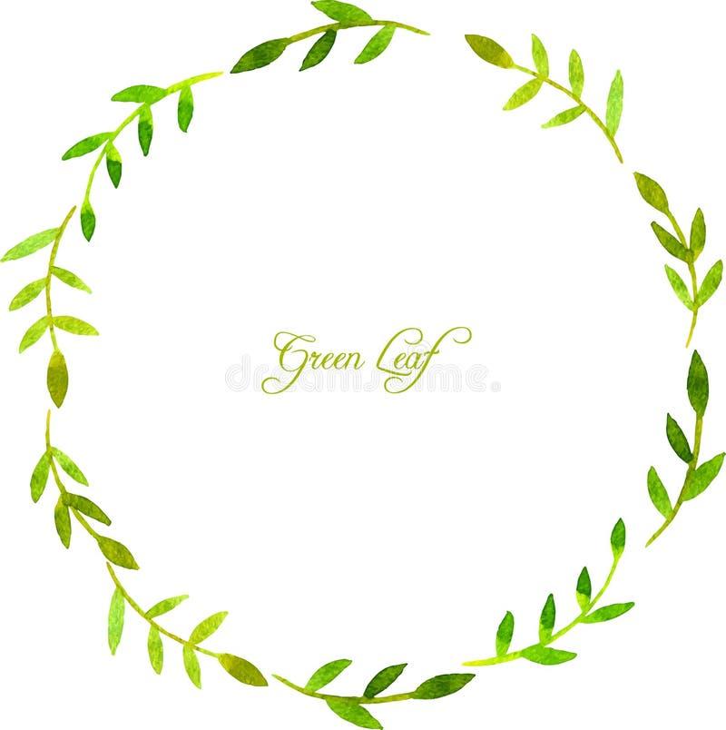 Круглый венок с зеленым цветом акварели выходит и разветвляет иллюстрация вектора