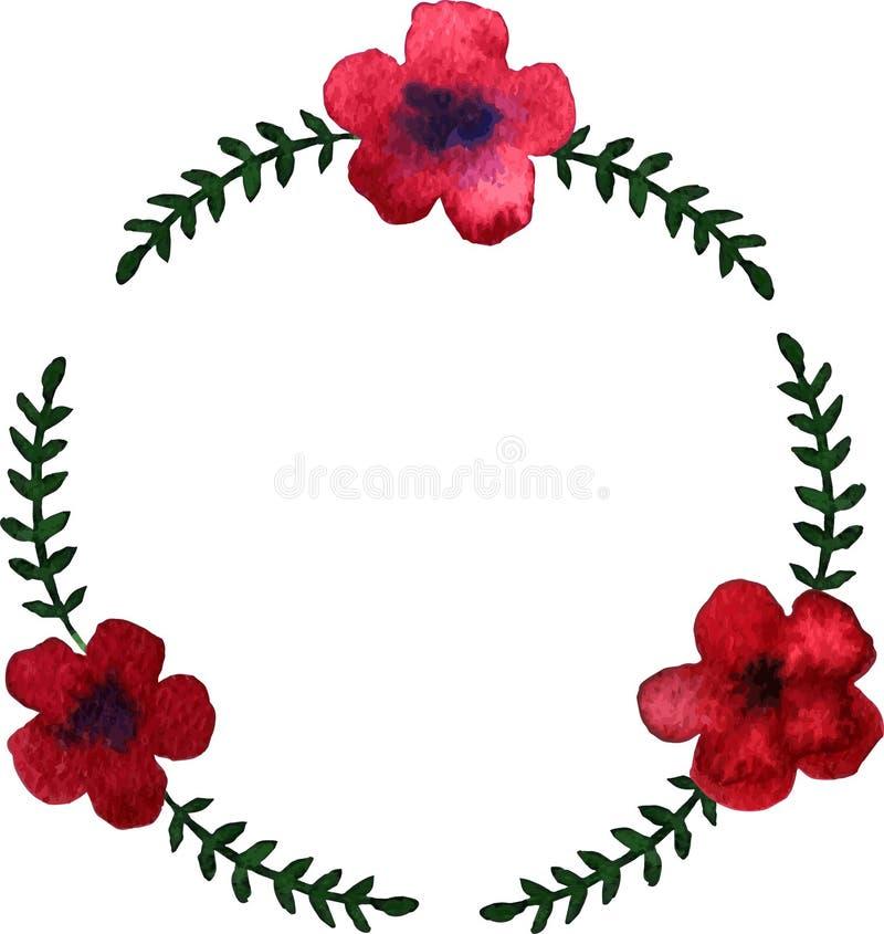 Круглый венок с цветками красного цвета акварели иллюстрация вектора