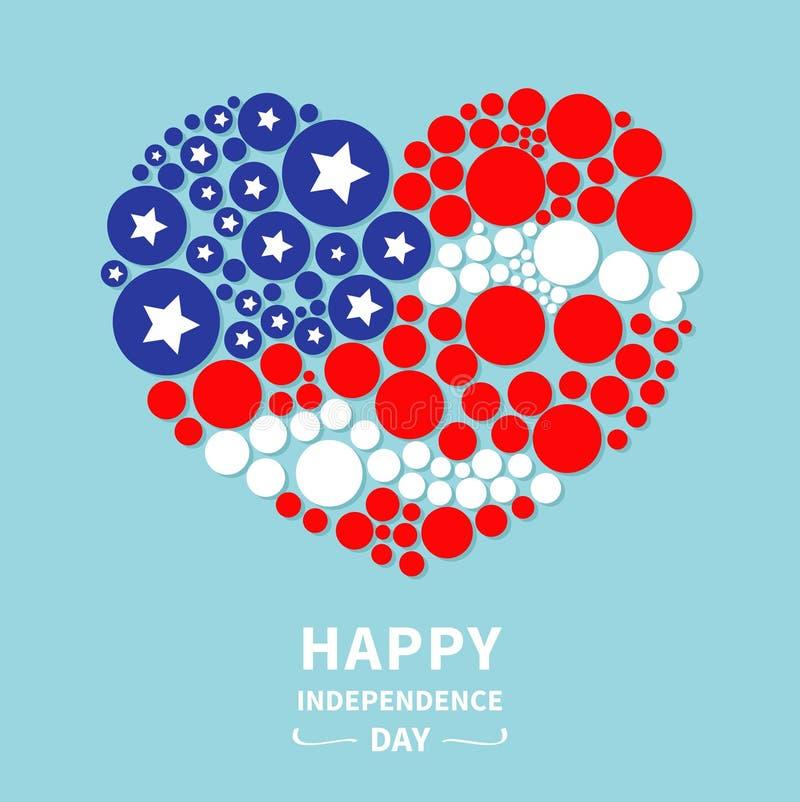 Круглый День независимости Соединенные Штаты Америки звезды и прокладки флага сердца точки счастливый 4-ое июля Плоский дизайн иллюстрация штока