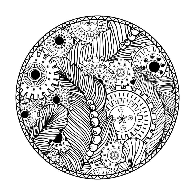 Круглый дизайн страницы книжка-раскраски для взрослых с элементами технологии steampunk иллюстрация вектора
