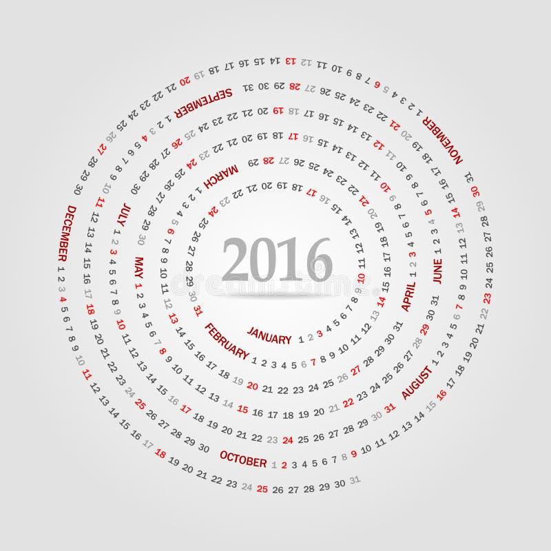 Круглый календарь на 2016 год Неделя начинает воскресенье иллюстрация штока