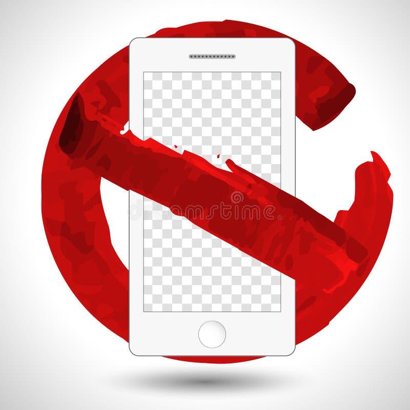 Круглый красный цвет отсутствие изолированного вектора значка мобильного телефона иллюстрация штока