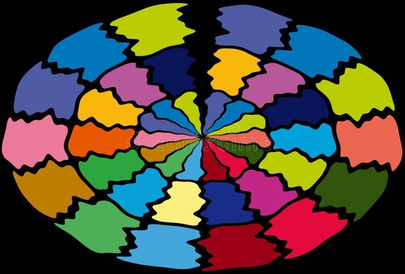 Круглый красочный ряд картины иллюстрация штока