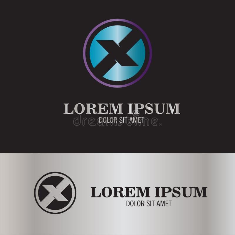 Круглый логотип письма x иллюстрация штока