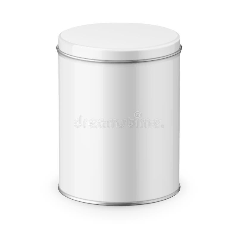 Круглый лоснистый шаблон жестяной коробки иллюстрация штока