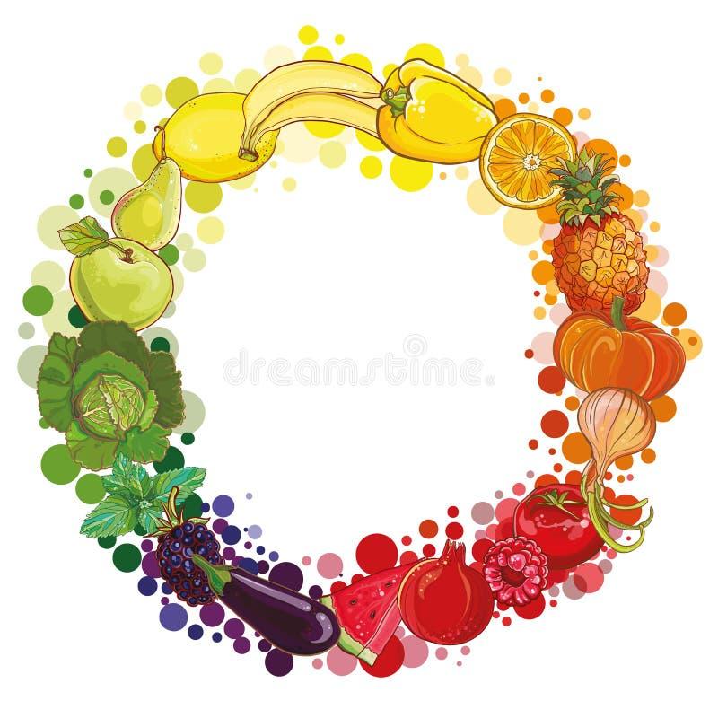 Круглый состав с фруктами и овощами Круг еды бесплатная иллюстрация