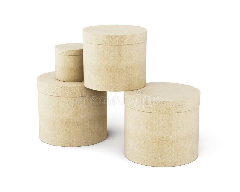 Круглый стог картонных коробок на белой предпосылке 3d ren иллюстрация штока