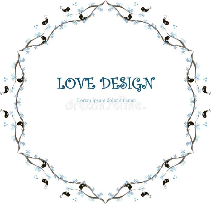 Круглый любящий дизайн, предпосылка Lorem Ipsum Крася голубые снежинки, черные любящие птицы на ветвях, сердцах на белизне иллюстрация вектора
