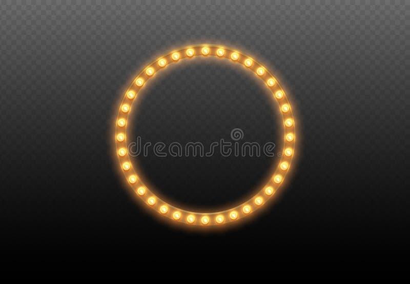 Круг электрической лампочки Круглая рамка светов на прозрачной предпосылке Загоренный вокруг реалистического знамени казино при и иллюстрация вектора