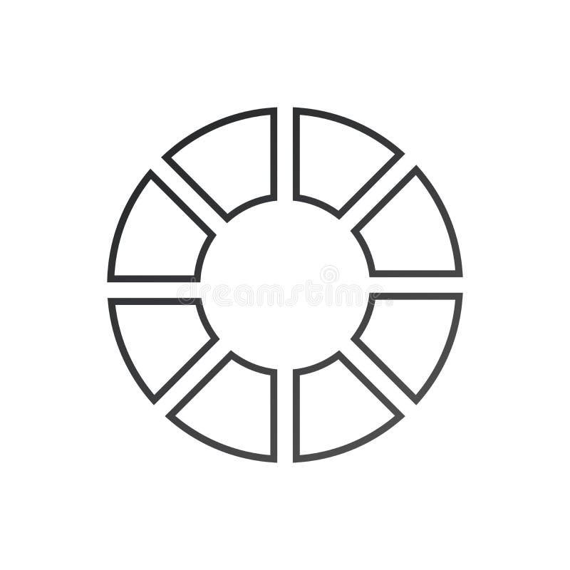 Круг Infographic r Диаграмма вектора с 8 вариантами Смогите быть использовано для диаграммы, представления, отчета, вариантов шаг иллюстрация вектора