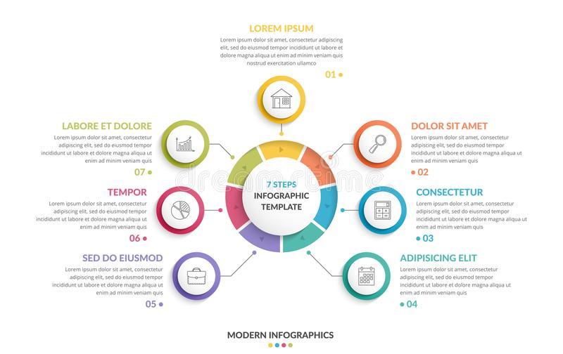 Круг Infographics - 7 элементов бесплатная иллюстрация