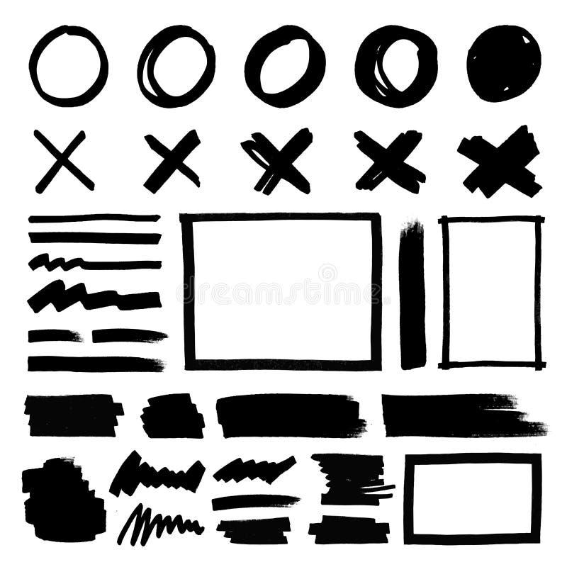 Круг scribble Grunge, эллипсис, линии, черная отметка иллюстрация вектора