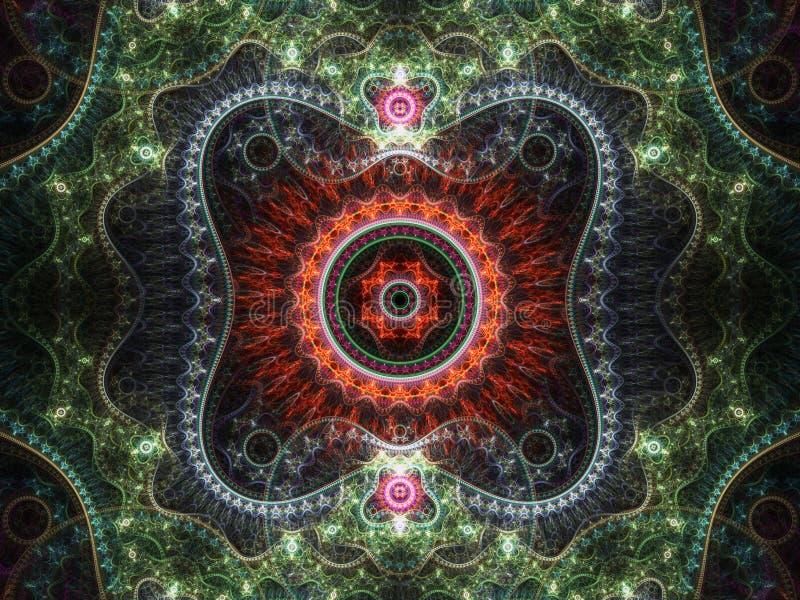 Кружевной красный и зеленый clockwork фрактали иллюстрация вектора
