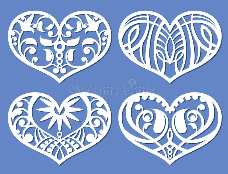 Кружевные сердца, формы fretwork вырезывания лазера, символы вектора влюбленности выреза прокладчика иллюстрация штока