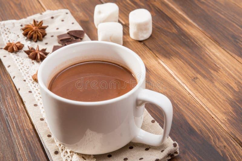Кружка заполнила с домодельным горячим шоколадом, зефиром с специей стоковые изображения rf