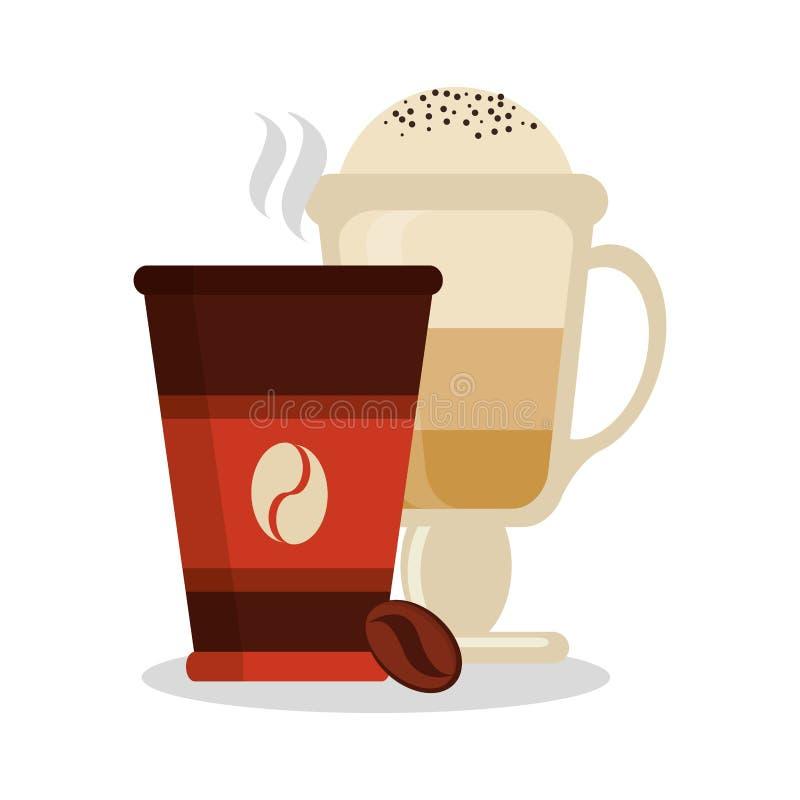 Кружка и стекло дизайна кофейни иллюстрация вектора
