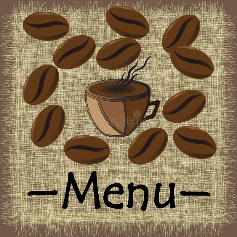 Кружка кофе меню с кофейными зернами иллюстрация штока