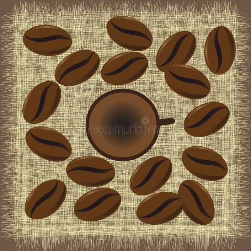 Кружка кофе меню с кофейными зернами иллюстрация вектора