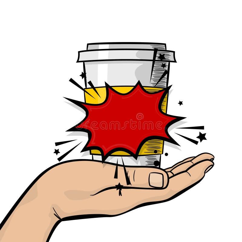 Кружка кофе чая бумаги владением руки человека горячая иллюстрация штока