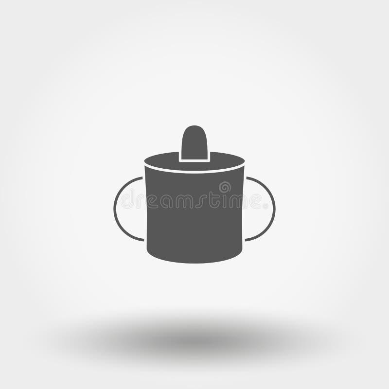Кружка младенца для подавать икона вектор силуэт Плоский дизайн иллюстрация штока