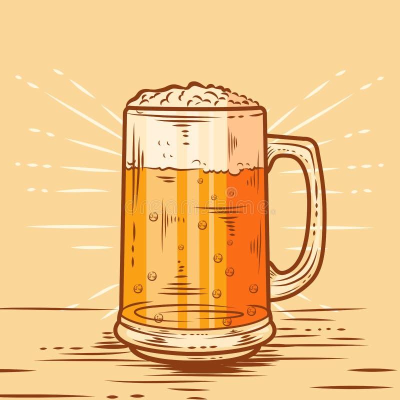 Кружка пива на таблице бесплатная иллюстрация