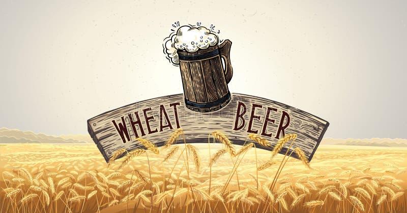 Кружка пива, с деревянной доской, бесплатная иллюстрация