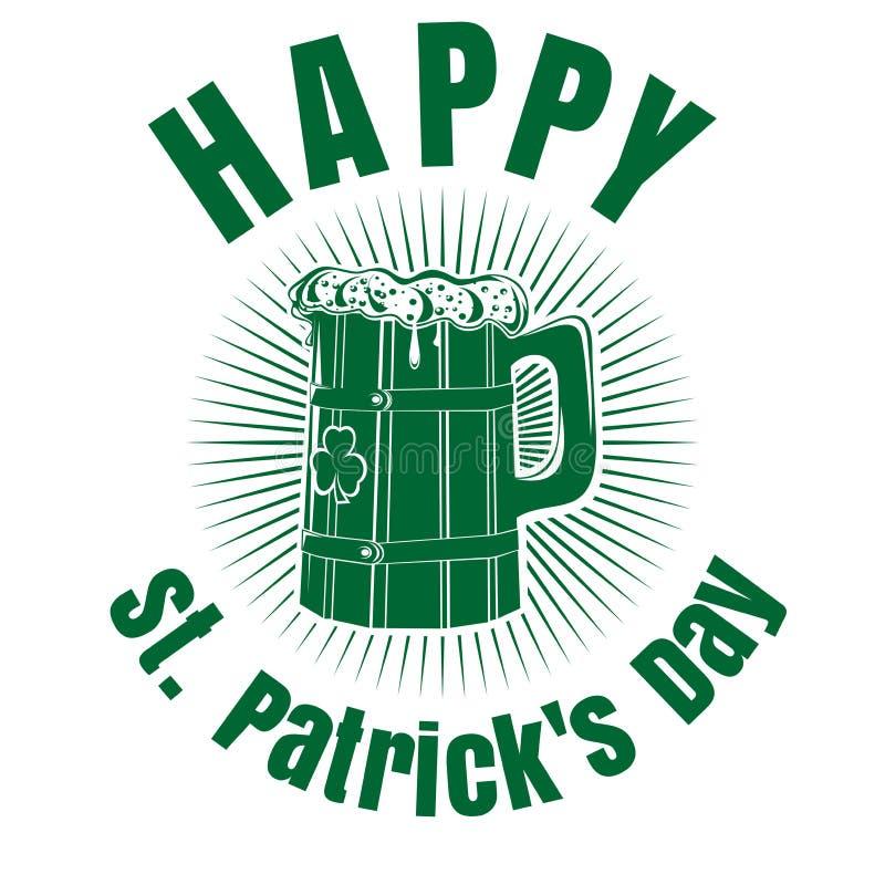 Кружка пива с изображением клевера st patricks дня счастливый иллюстрация вектора
