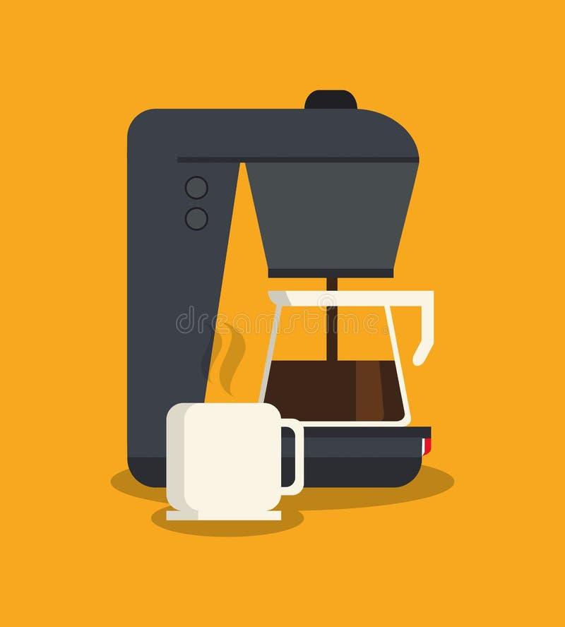 Кружка чайника и машина дизайна кофейни иллюстрация штока
