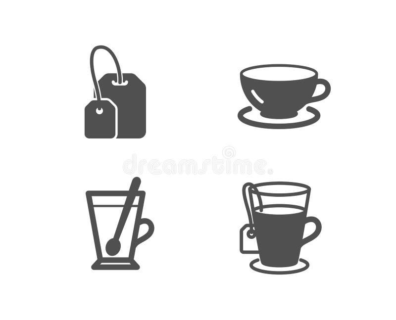 Кружка чая, значки пакетика чая и эспрессо Чашка с чайной ложкой, заваривает горячее питье, кофейную чашку Стеклянная кружка иллюстрация вектора