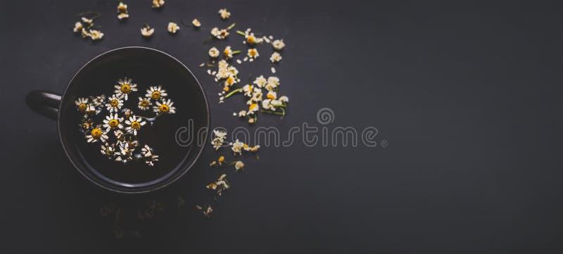 Кружка чая стоцвета на темной предпосылке, взгляде сверху с космосом экземпляра для вашего дизайна Здоровые ингридиенты чая стоковая фотография