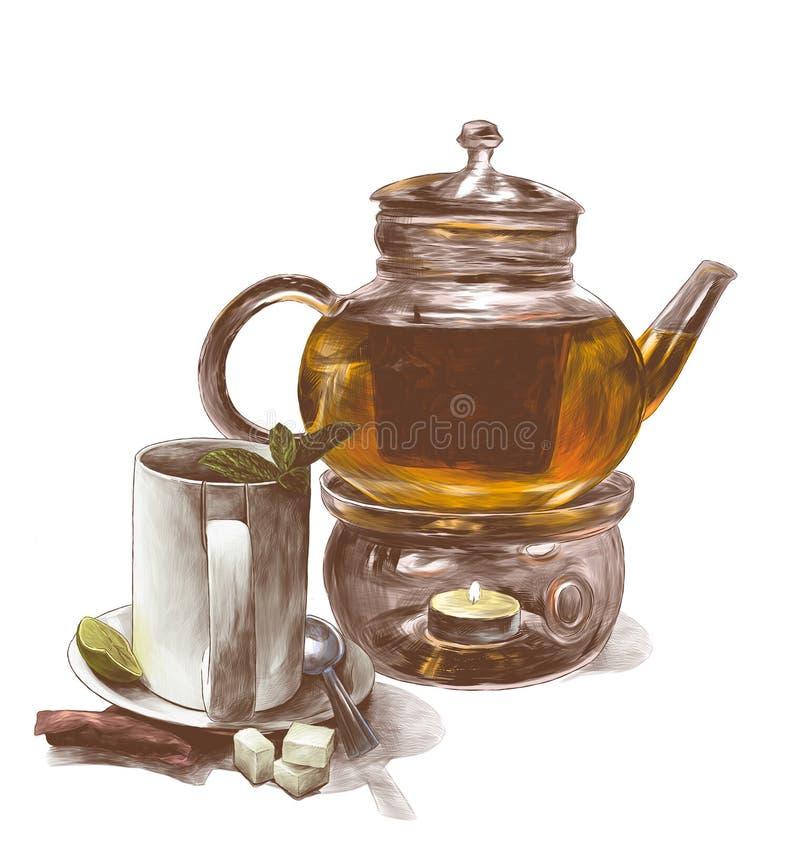 Кружка чая с листьями мяты на поддоннике с чайной ложкой и стеклянным чайником бесплатная иллюстрация