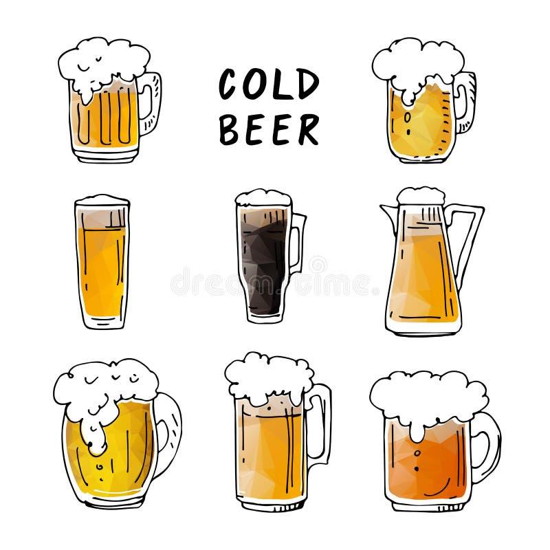Кружки пива set-01 иллюстрация штока
