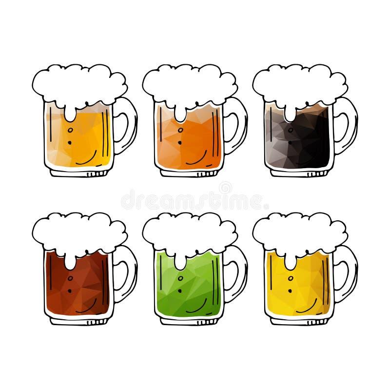 Кружки пива set-04 иллюстрация вектора