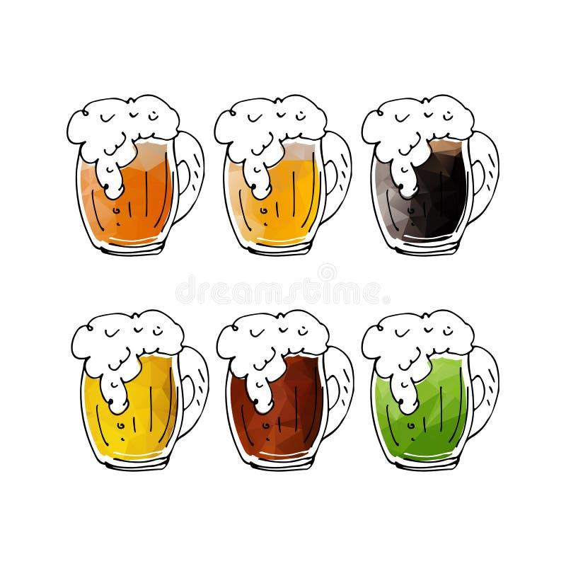 Кружки пива set-08 иллюстрация вектора