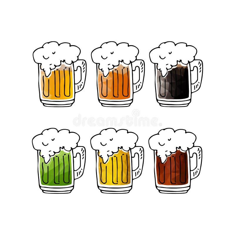 Кружки пива set-06 иллюстрация вектора