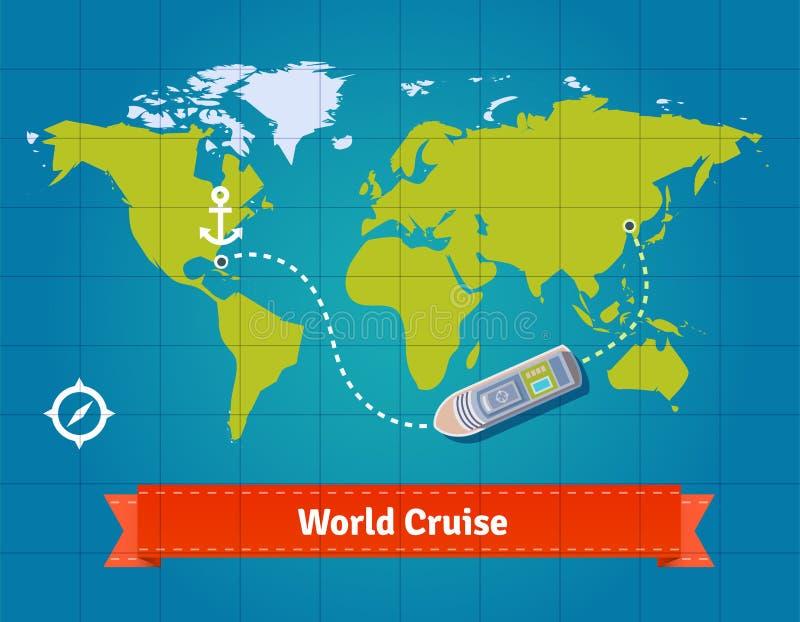Круиз мира touristic с предпосылкой карты иллюстрация вектора
