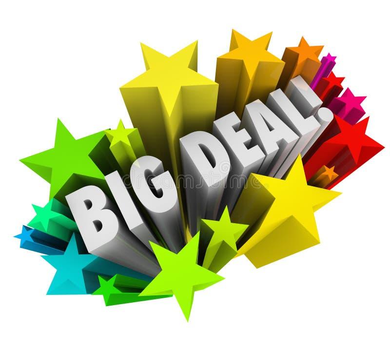 Крупная сделка формулирует продажу важной новости фейерверков звезд иллюстрация штока