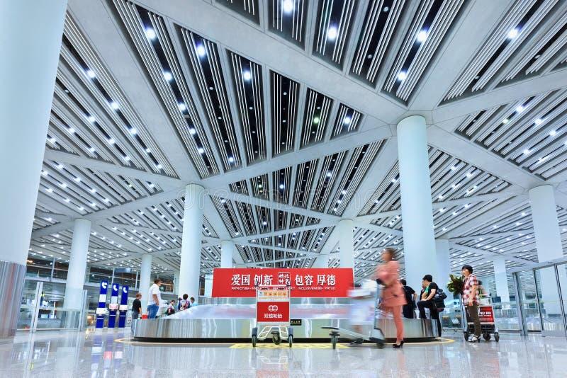 Крупный аэропорт 3 Пекина заявки багажа прописной стоковая фотография