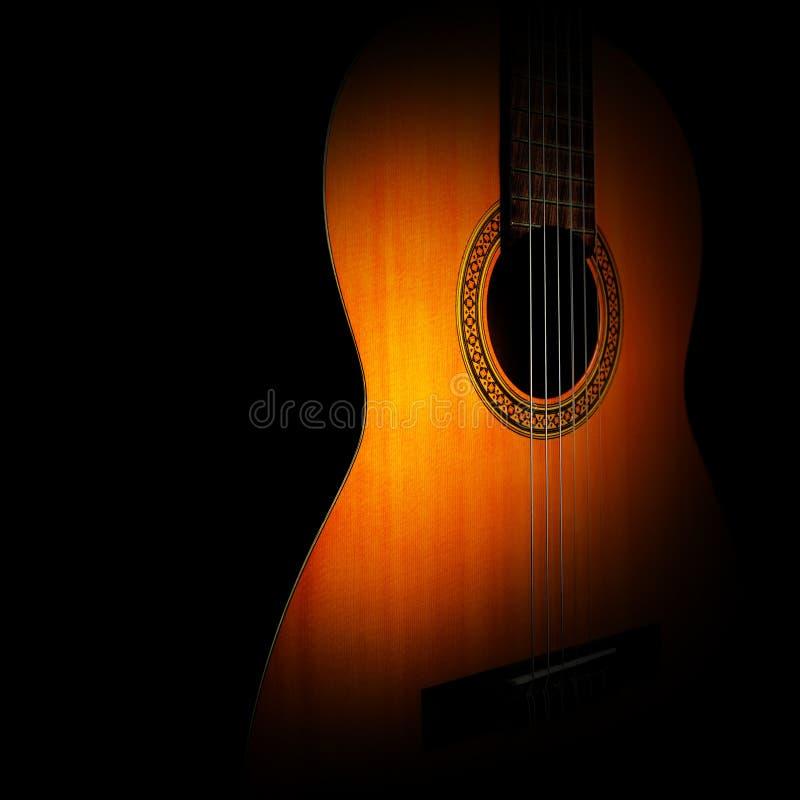 Крупный план акустической гитары классическая близкая гитара вверх стоковое изображение