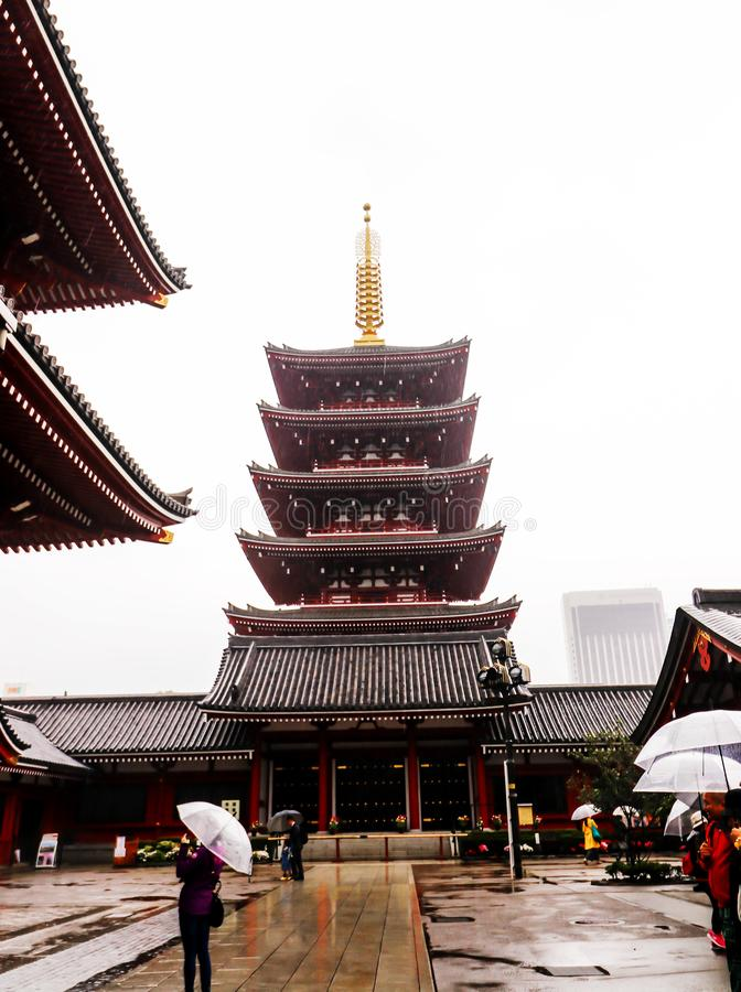 Крупный план виска Asakusa Sensoji Kannon на токио, Японии стоковое фото rf