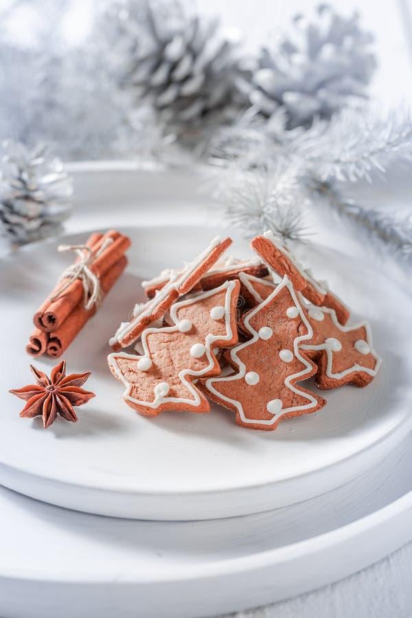 Крупный план вкусных печений пряника для рождества на белизне стоковое фото