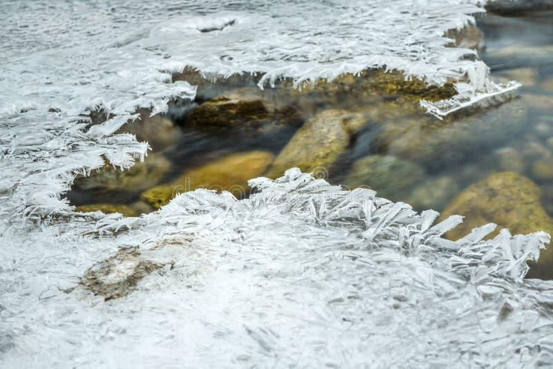 Крупный план воды пропуская в реке, отверстии с кристаллическим льдом вокруг, долгая выдержка делает подачу шелковистый приглажив стоковая фотография rf