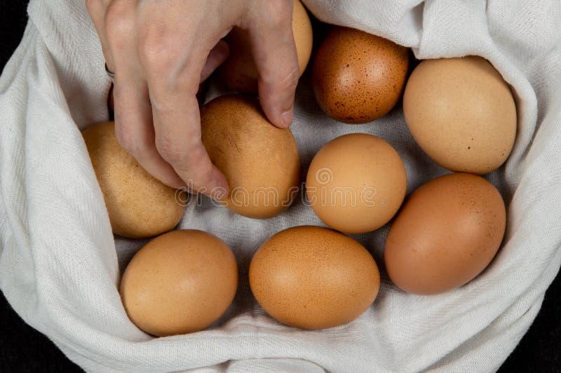 Крупный план женской руки комплектуя свежее яйцо от белой ткани на столешнице стоковая фотография