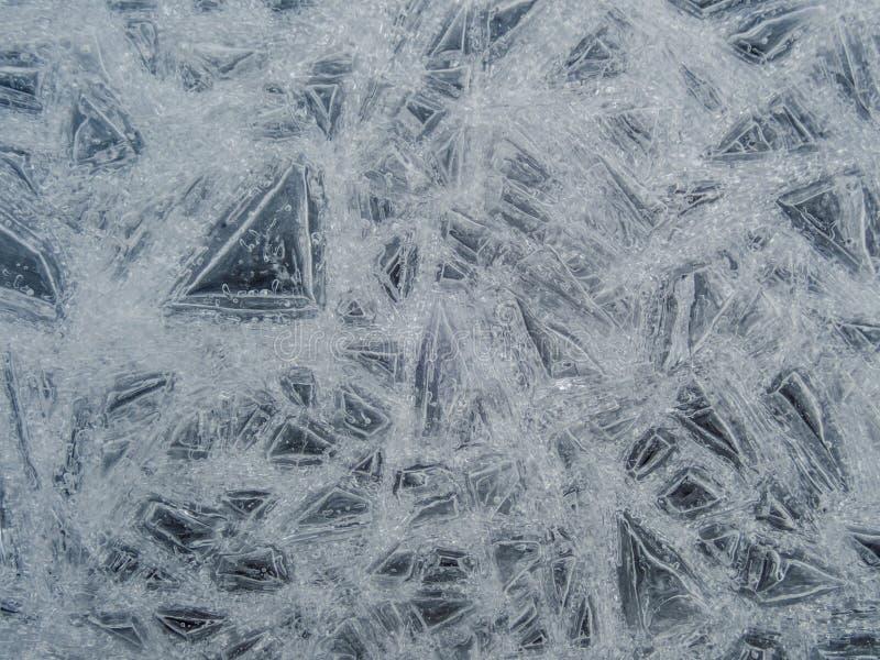 Крупный план льда в естественном свете для крутой предпосылки текстуры зимы стоковая фотография