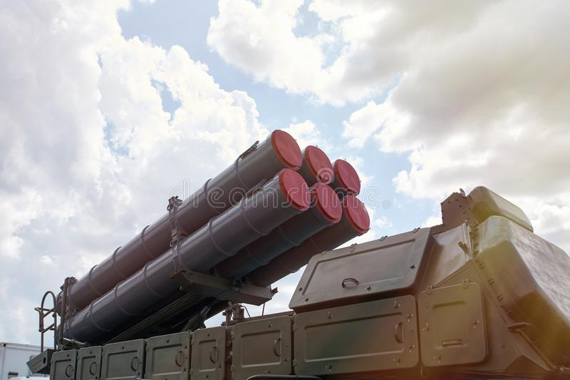 Крупный план русского самоходного комплекса ракеты стоковые изображения rf