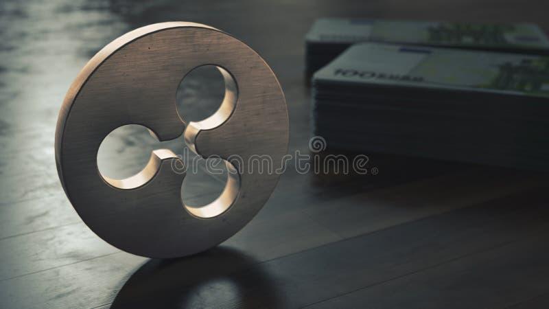 Крупный план символа cryptocurrency пульсации металлический : иллюстрация штока